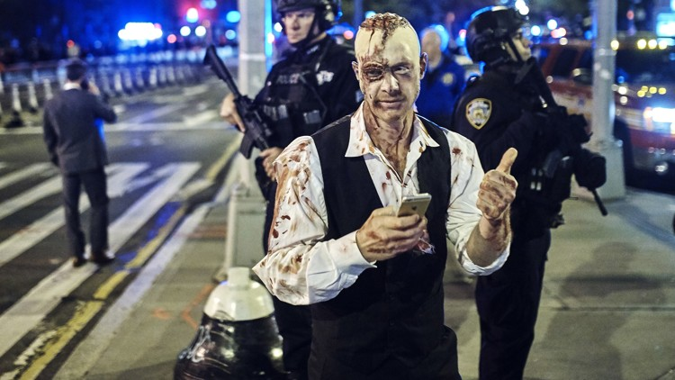 A year after attack, police out in force for NYC Halloween