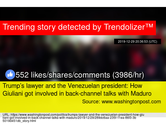 Trump's lawyer and the Venezuelan president: How Giuliani got involved in back-channel talks …