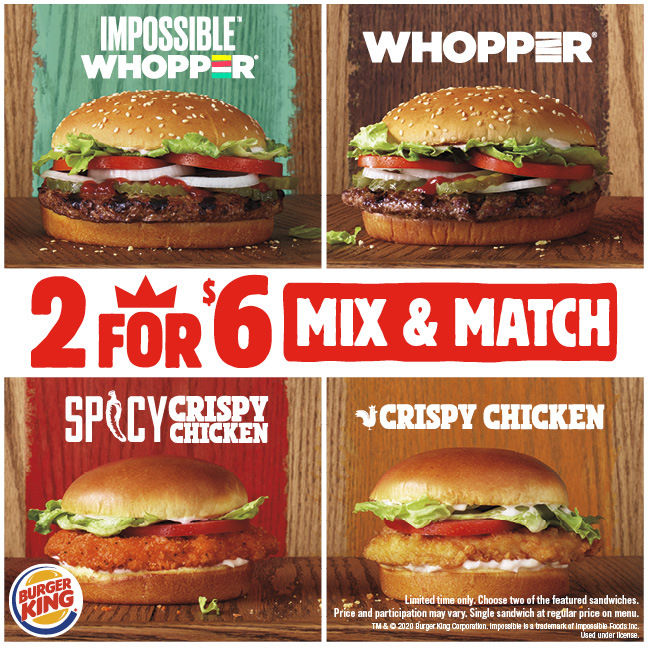 Burger King® Adds the Impossible™ WHOPPER® to the 2 for $6 Lineup